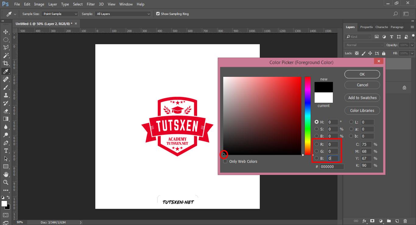 انواع مد هاي رنگی در فتوشاپ : کد RGB رنگ مشکی